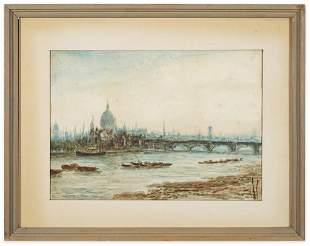 William Freeman (1853-1935) Thames River W/C