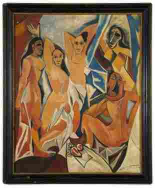 Signed Cubism Abstract Nudes, Oil on Board