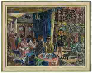 Signed European Cafe Scene Oil on Canvas