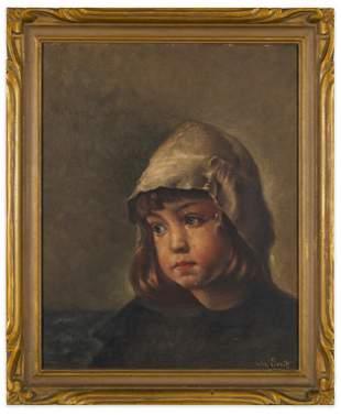 Signed 19th Century Portrait of Child - Wm. Ervik
