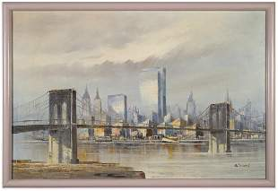 Signed Manhattan Skyline Oil on Canvas