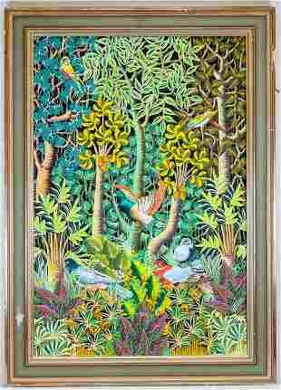 Serge Maniguat Signed Birds in Jungle Oil on Canvas