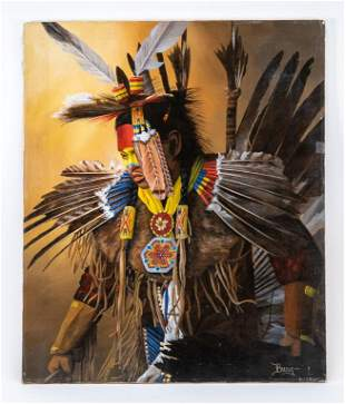 Signed Native American Dancer Portrait O/C