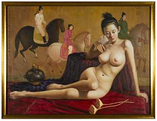 Large Chinese Signed Nude Figural Oil Painting
