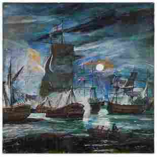 P. Dubois Seascape Under Moonlight Sky 0/C