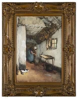 Martinus Schildt, 19th C. Watercolor-Village Woman