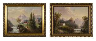 Pair of 19th C. Moutainscapes O/C, Signed Horlor
