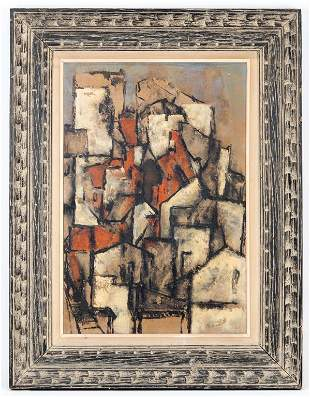 Abstract Cubism Cityscape, Signed Kurach