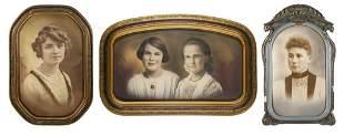 Three Antique Framed Heirloom Portraits of Women