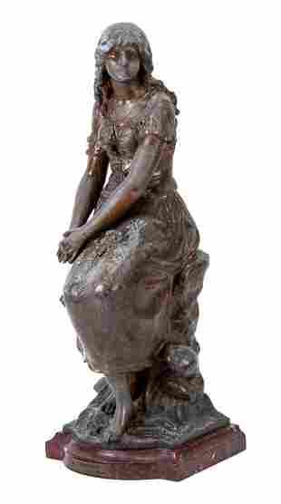 "Auguste Moreau, Bronzed Statue of a Lady ""Mignon"""