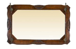 Antique Wood Hall Hanging Mirror