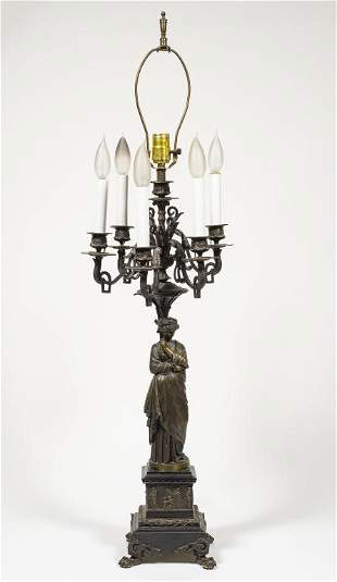 Antique Salmson Figural Bronze as Candelabra Lamp