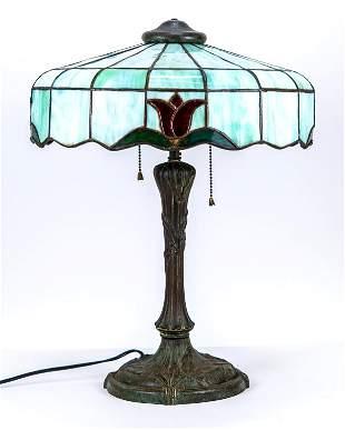 Tiffany Style Art Nouveau Leaded Glass Lamp