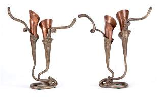 Pair of Brubaker Lily Copper & Pewter Candlesticks