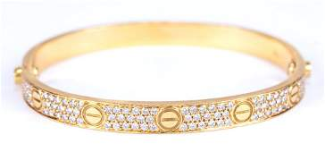 Iconic Cartier Gold Love Bracelet w/ Diamonds