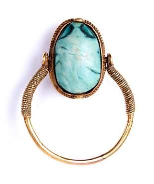 Egyptian Revival 15K Gold Scarab Flip Ring