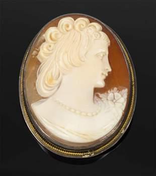 Vintage Silver Cameo Pin Pendant