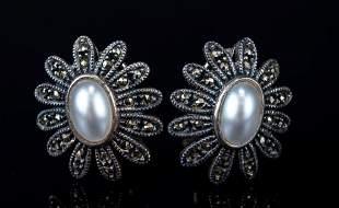 Judith Jack Sterling & Marcasite Pearl Earrings