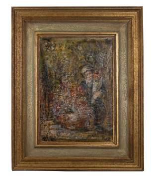 "Edna Hibel (1917-2014) ""Old Man with Flowers"" O/B"