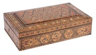 Antique Inlaid Marquetry Mixed Wood Dresser Box