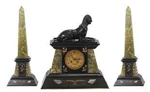 Egyptian Revival 3-Piece Bronze Garniture Set