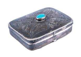 Native American Silver Snuff Box
