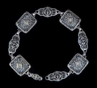 Antique Rhodium Plated Camphor Glass Bracelet