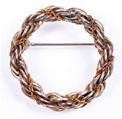 Tiffany & Co. Sterling & 18K Wovem Rope Wreath Pin