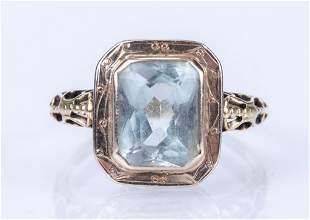 Antique 14K White Gold & Aquamarine Ring