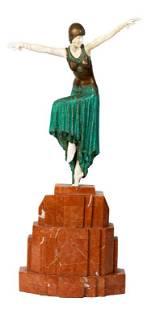 Art Deco Dancer After DH Chiparus Bronze Sculpture