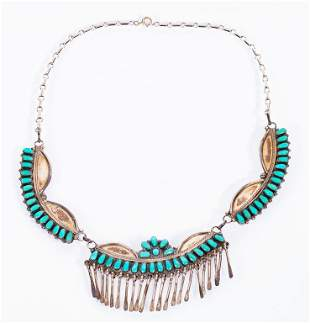 Signed Native American Zuni Needlepoint Necklace