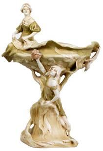 Royal Dux Art Nouveau Figural Compote