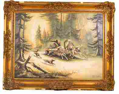Winter Hunting Scene, Signed Max Gollnau