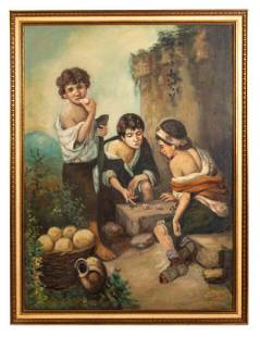 Boys Playing Dice Painting After Murillo