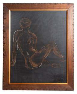Signed Nude Charcoal Drawing