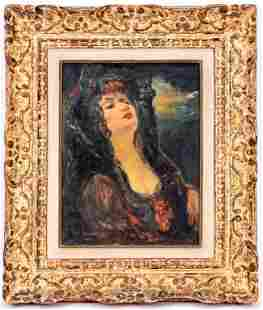 Signed Antique Oil Painting Portrait of a Woman
