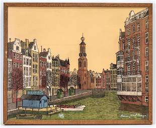 Denis Paul Noyer Signed Color Amsterdam Lithograph