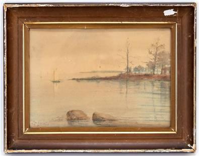 Helen Loomis Lake Scene Landscape W/C