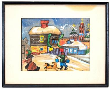 Signed Pastel Russian Winter Scene