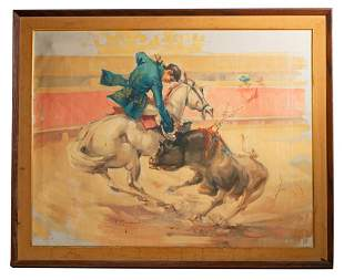 Vincent Sandoval Signed Painting of Matador