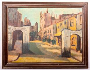 Mediterranean Street Scene Oil on Canvas