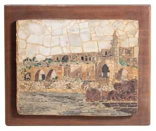 Signed Mid Century Israeli Ruins Mosaic Art
