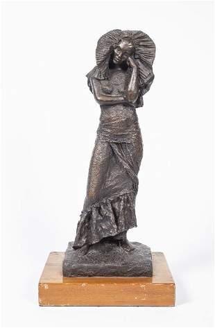 Signed Art Nouveau Style Bronze Sculpture