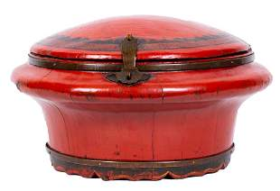 Antique Round Chinese Lacquered Lunch Box