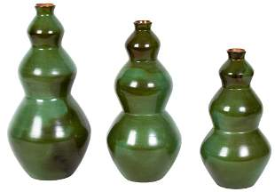 Set of 3 Peruvian Chulucanas Art Pottery Vases