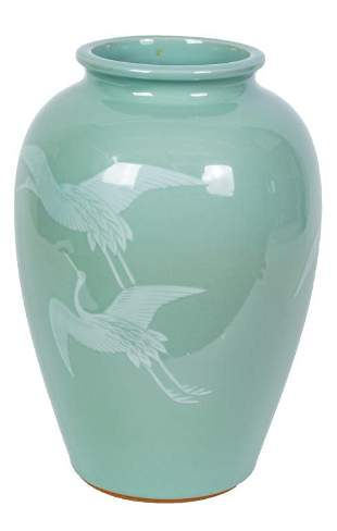 Chinese Celadon Vase with Flying Cranes