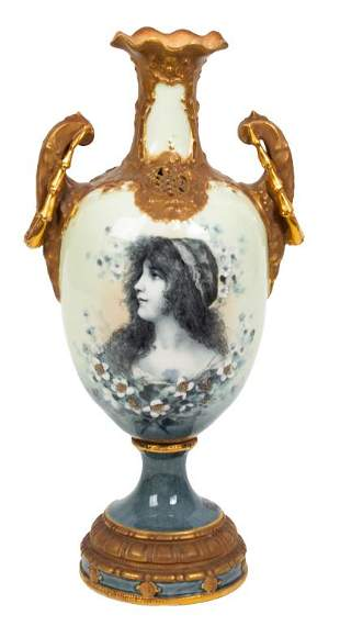 Hand Painted Bavarian Two Handled Vase