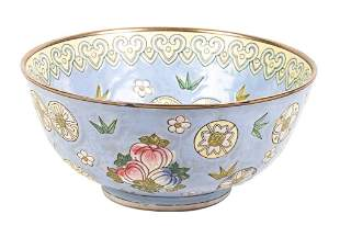 Blue Chinese Famille Rose Porcelain Bowl