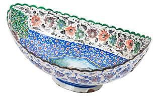 Persian Minakari Painted Enamel on Metal Bowl