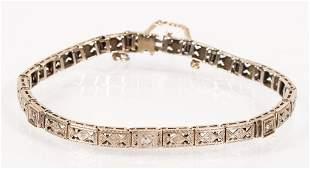 Art Deco Line Bracelet in 14k White Gold